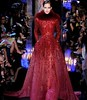 Red long sleeve ball gowns