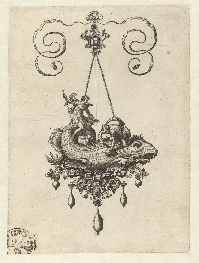 Pendant with fish - Adriaen Collaert and Hans Collaert (I) attributed as printmakers, published by Philips Galle, 1582