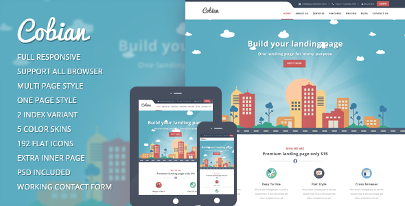 Themeforest Cobian v1.2 - Flat Bootstrap Landing WordPress Theme