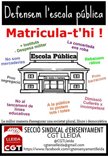 Defensem l'escola pública . animem a matricular-s'hi . CGT Lleida
