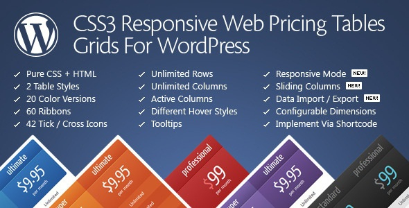 CSS3 Responsive WordPress Compare Pricing Tables v10.7