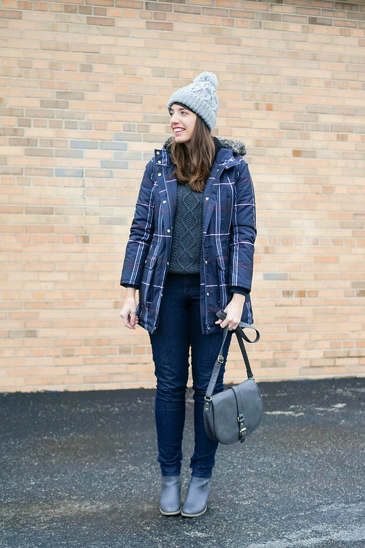 gray cable knit sweater + plaid Tommy Hilfiger coat + jeans + gray ankle boots and purse; Style On Target