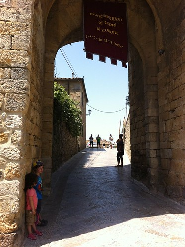 Small children, big medieval gate