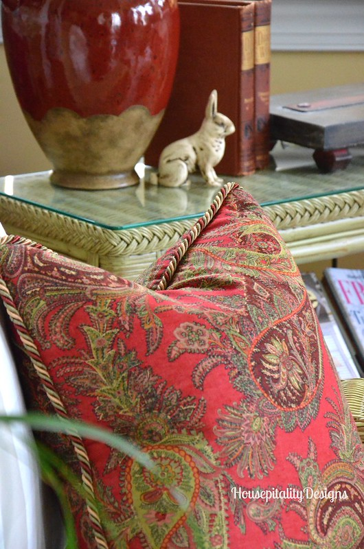 Red and Green Paisley Pillow/Sunroom - Housepitality Designs