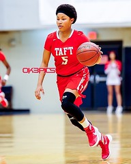 Taft's Tierra Tullis (5) brings the ball up court during a basketball game against Brennan's Lady Bears. #ok3pics #ok3 #nikonphotography #sportsphotography