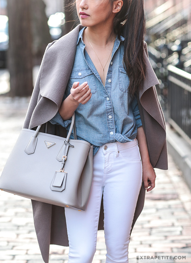 white jeans chambray shirt gray jacket petites outfit