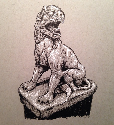 8th century T'ang Dynasty lion, sketched from a pic I took last year at the Nelson-Atkins Museum, Kansas City, Missouri