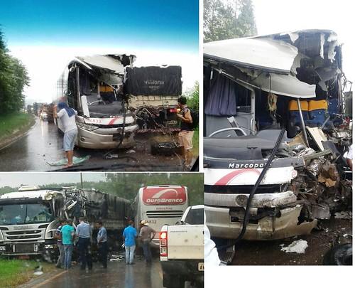 acidente onibus caminhão