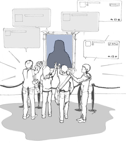 An illustration of journalists posing questions to a framed silhouette.