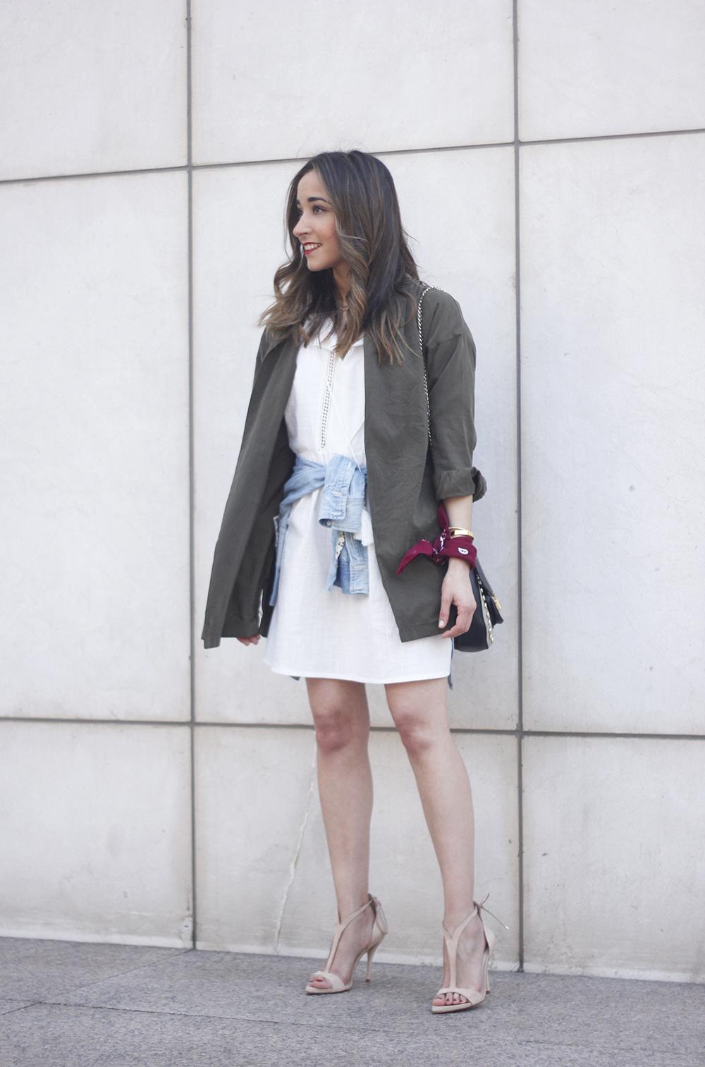 White Dress khaki shirt denim shirt nude sandals bandana outfit spring style02