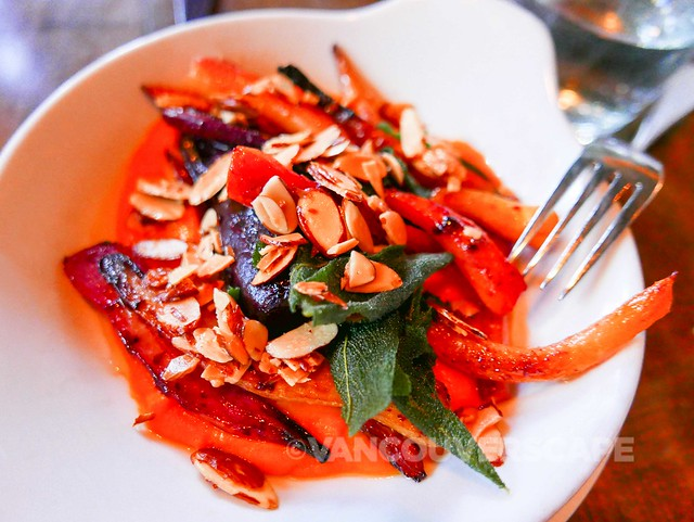 Glazed carrots, brown butter almonds, fried sage