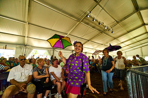 Economy Hall Tent audience participation Jazz Fest Day 2. Photo by Eli Mergel