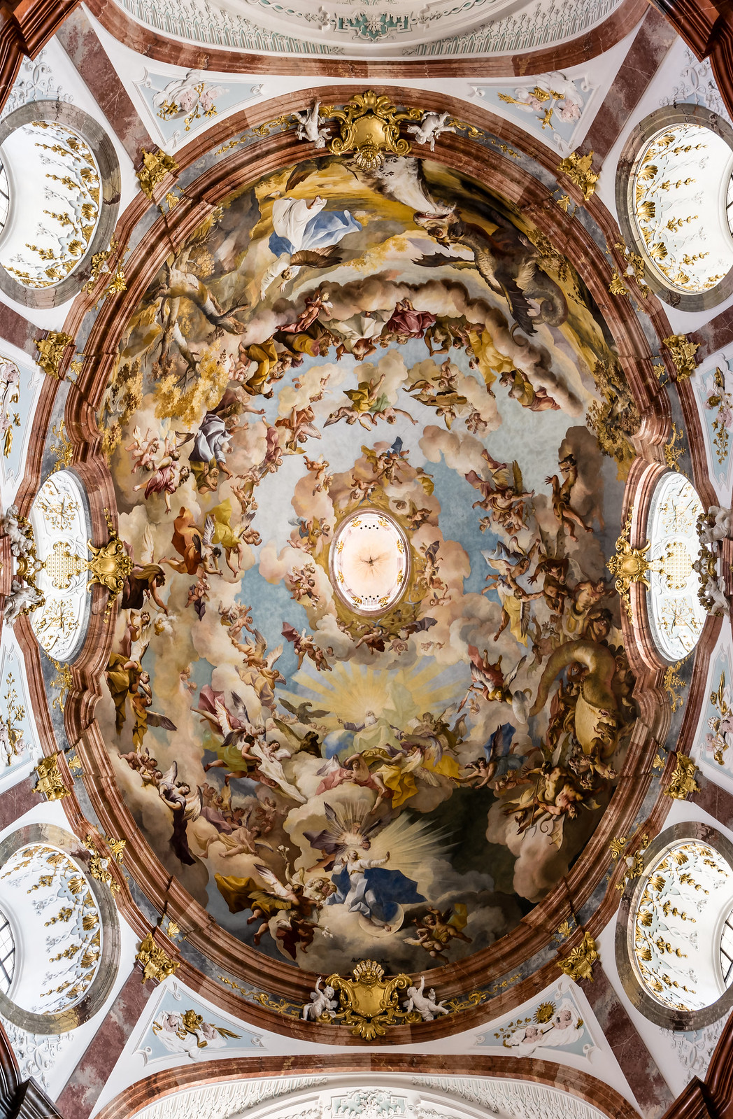 Fresco in the dome of Altenburg Abbey Church (Lower Austria) by Paul Troger (1733) The apocalyptic vision of St. John. Credit Uoaei1