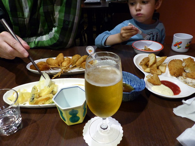 Miscellaneous fried food and beer. Health nuts.