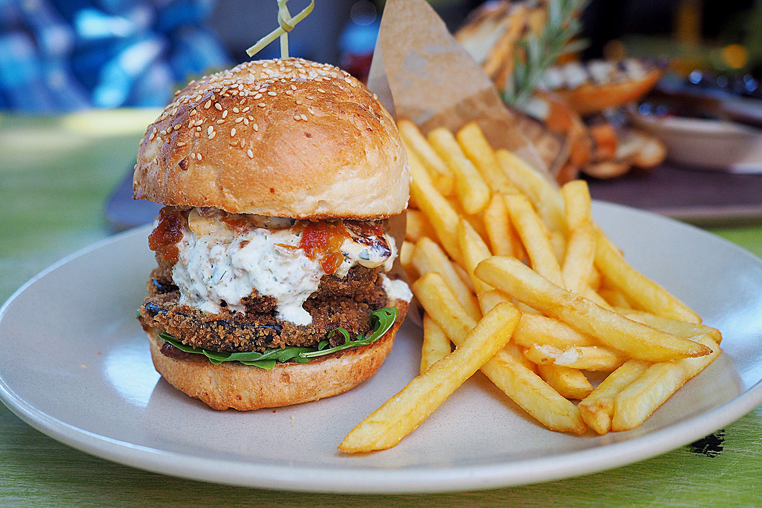 Crumbed Eggplant Burger with rocket, haloumi, homemade relish, mint and garlic yoghurt with a side of chips, $18: The Vic on the Park, Marrickville. Sydney Food Blog Review
