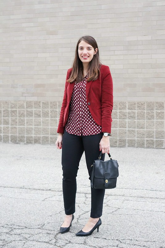 acorn print Loft blouse; Merona red velvet blazer, black ankle pants, black Target heels; Style On Target ; winter work outfit