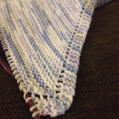 Decrease time!  Just over half-way there!  #knit #garter #babyblanket