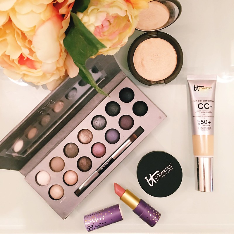 cute & little blog | laura geller beauty delectables cool palette, tartlette amazonian butter lipstick, it cosmetics bye bye pores powder, it cosmetics cc cream | makeup flatlay