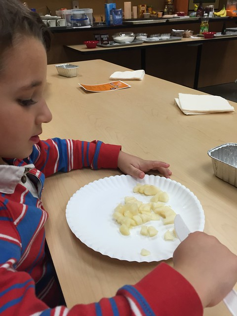 Chopping pears