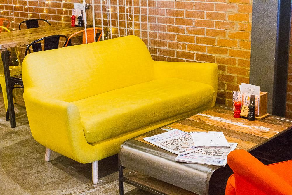 midcentury colourful sofas pasta remoli finsbury park italian