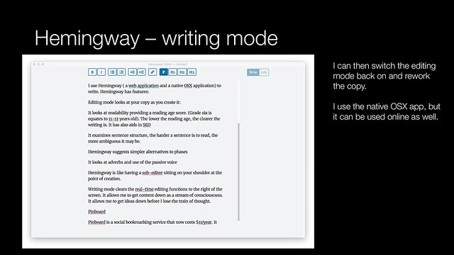 Hemingway - writing mode