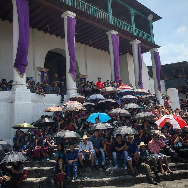 Watching the ceremony on the steps of the church.