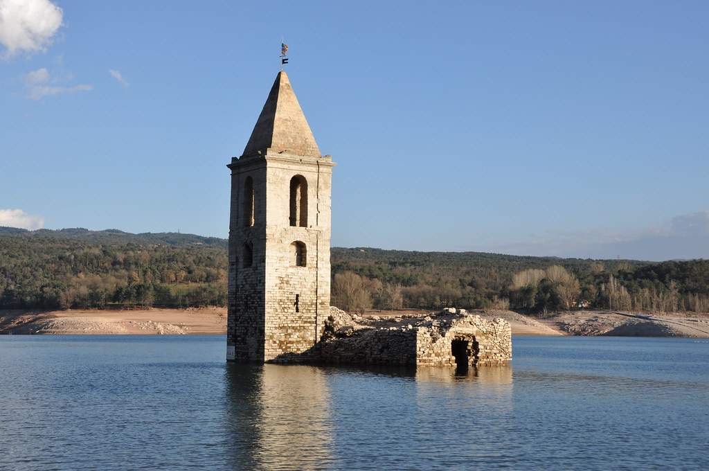 Vilanova de Sau. Old church of Sant Romà de Sau, submerged under the waters of Sau reservoir. 11th Century and later additions