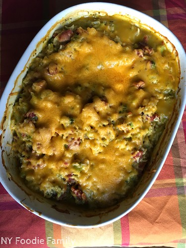 Cheesy Leftover Ham and Rice Casserole