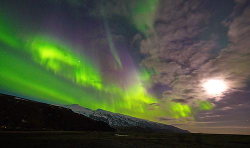 northern lights exploding over eyjafjallajokull