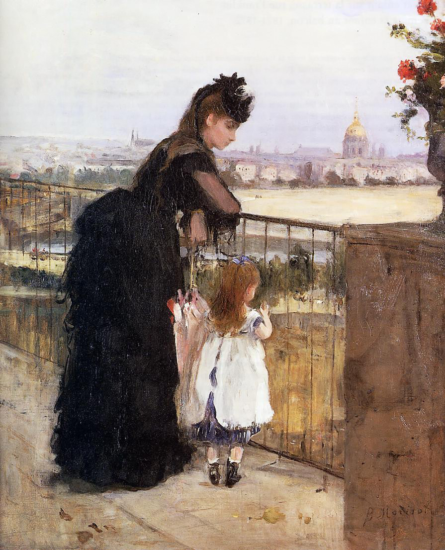 Woman and Child on a Balcony by Berthe Morisot, 1872