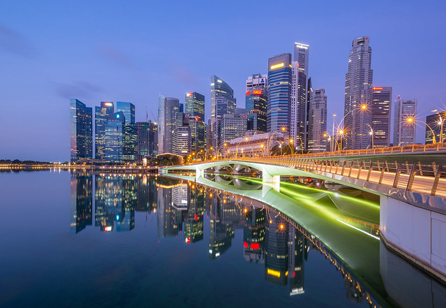 Singapore Financial Center with reflection.