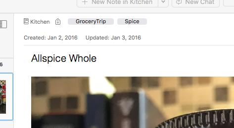 Spice listings in Evernote