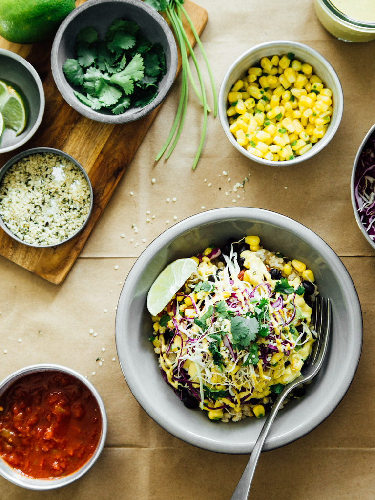 Spicy black bean burrito bowls with cashew + hemp seed chipotle sauce