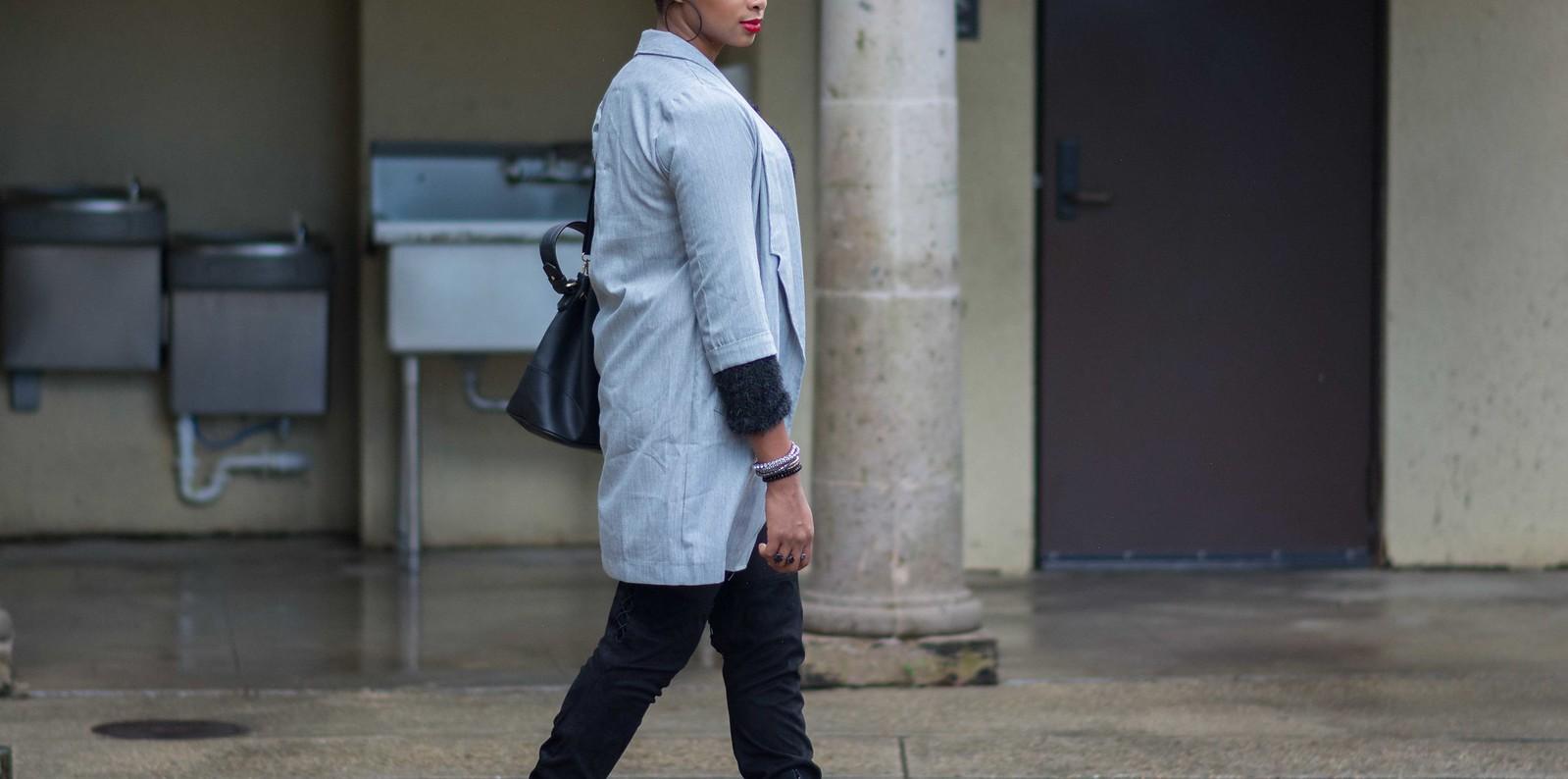 long line blazer long grey coat longline trend