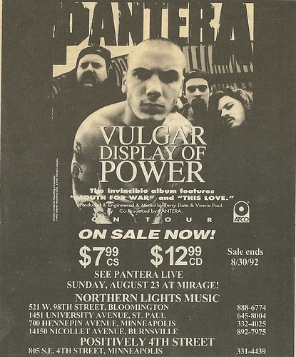 08/23/92 Pantera @ Mirage, Minneapolis, MN (Vulgar Display of Power Ad)
