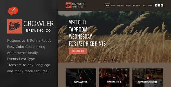 Themeforest Growler v2.1 - Brewery WordPress Theme