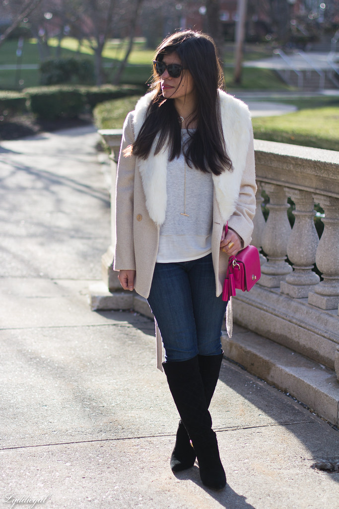 grey sweater, cream fur collar coat, black boots, pink bag.jpg