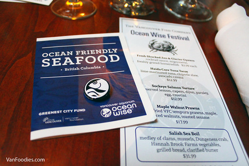 Vancouver Fish Company's Ocean Wise Festival 2016 Menu