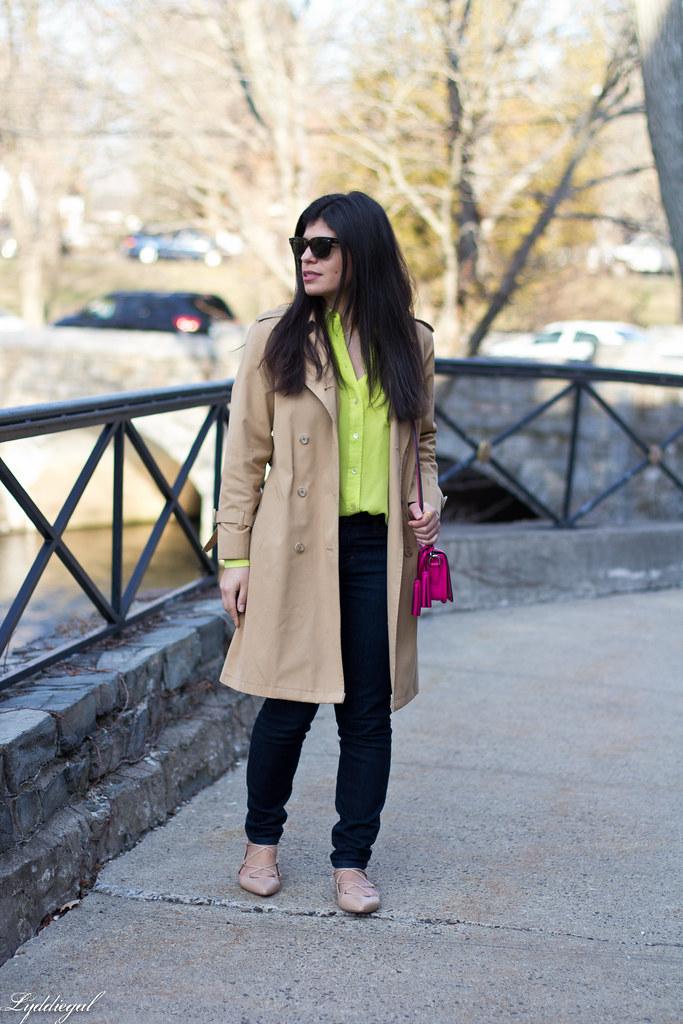 green equipment blouse, london fog trench, pink coach bag-2.jpg