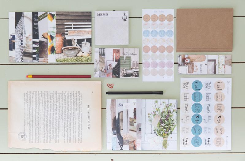 schrijfset compleet brocante kaarten en schrijfwaren