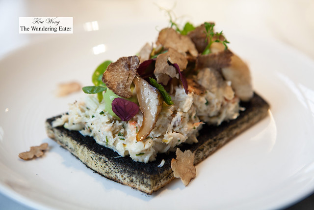 Crab toast, avocado cream, mushroom, shaved fresh truffles