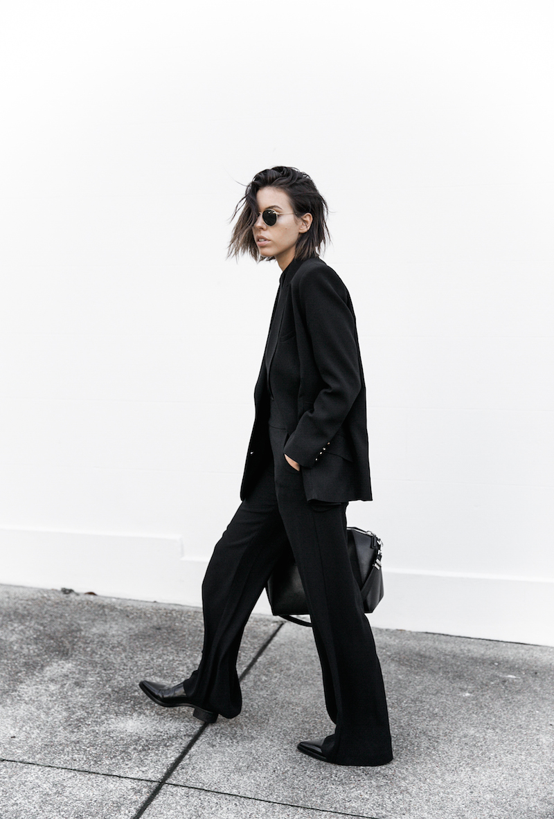 all black workwear inspo street style Karen Millen fashion blogger modern legacy man style sheer cut out shirt  (15 of 15)