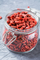 Dried goji berries in a jar