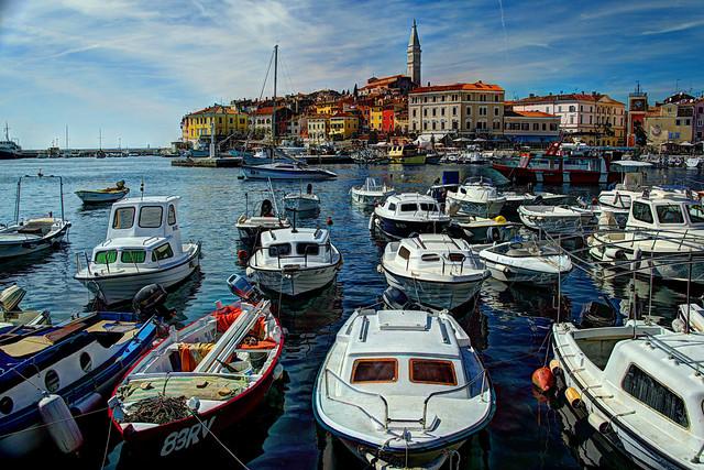 Rovinj, Croatia - boats in the harbor
