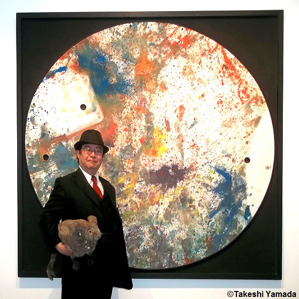 Dr. Takeshi Yamada and Seara (Coney Island Sea Rabbit) at the Chelsea art gallery district in Manhattan, New York on May 12, 2015.  20150512 006=C1