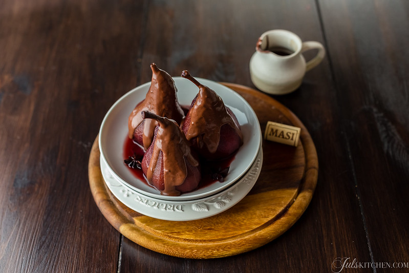 Red wine poached pears with chocolate sauce