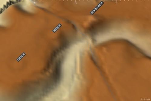 龍角寺切通し 3D地図