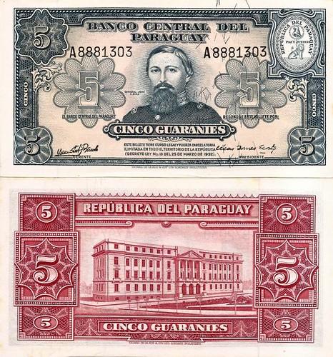 5 Guaranies Paraguaj 1952, P186c UNC