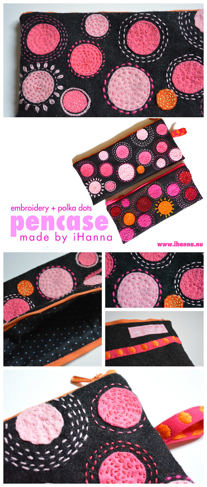 Polka dot wool embroidery by iHanna #pencase