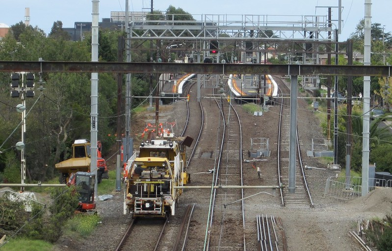 View to Patterson station, showing third track temporarily removed for level crossing removal works